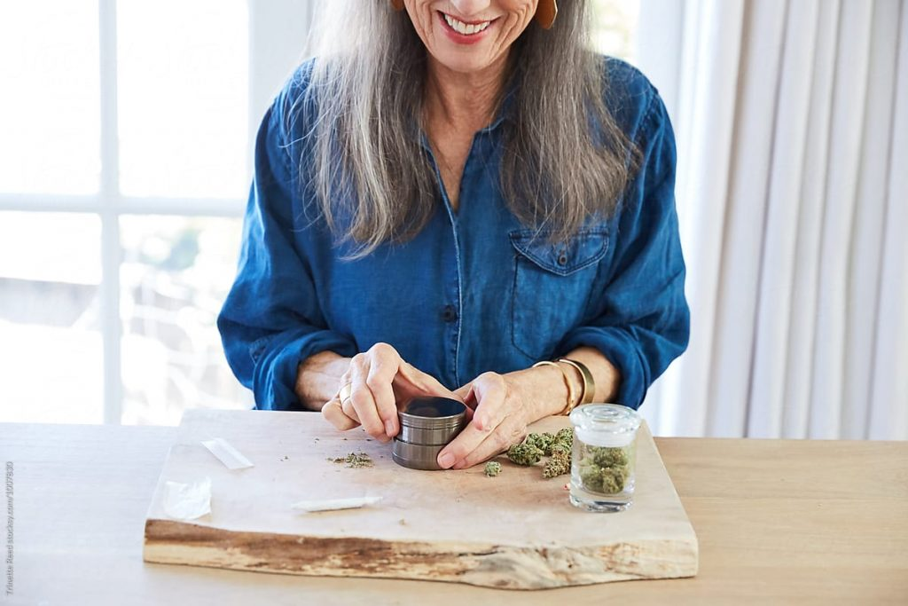 Woman using weed
