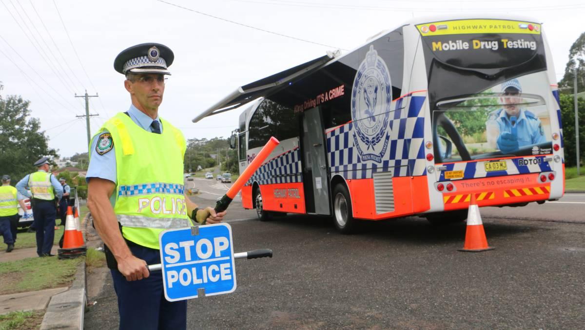 Police drug testing bus
