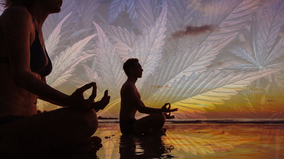 people meditating with a weed leaf image