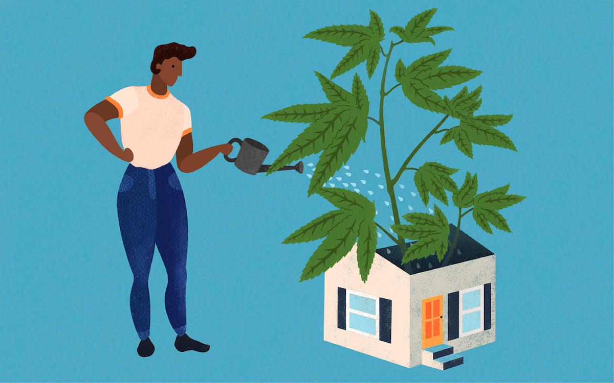 lady watering a hempcrete house